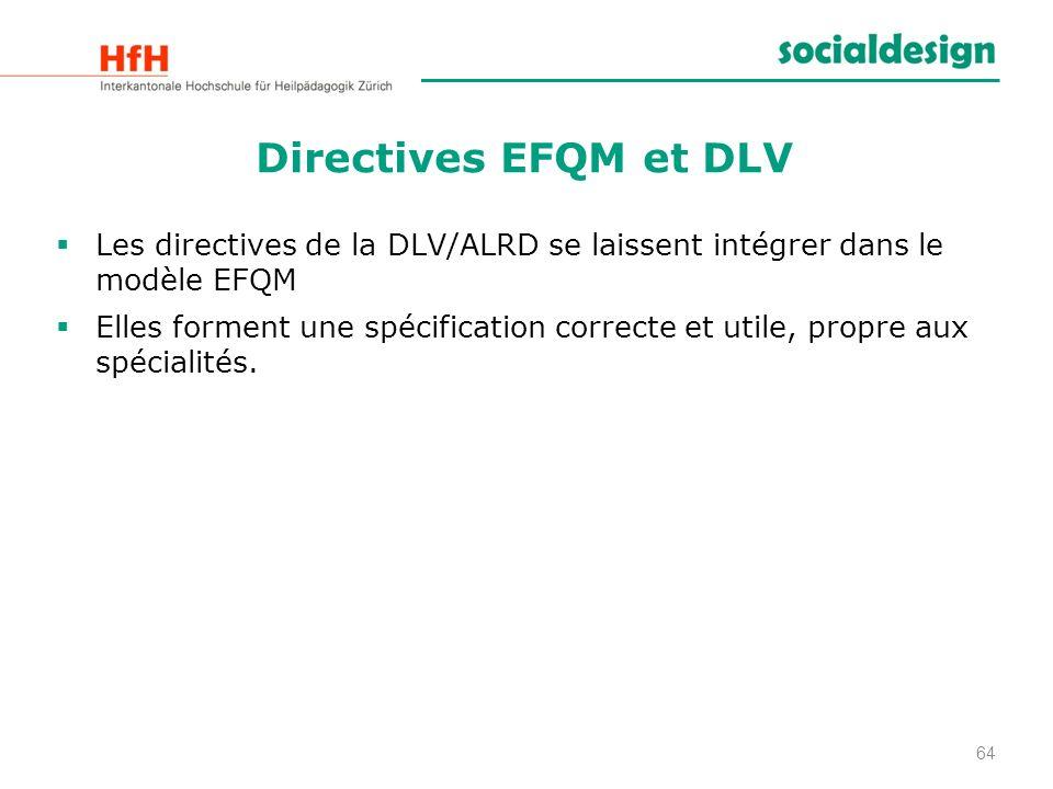 Directives EFQM et DLV Les directives de la DLV/ALRD se laissent intégrer dans le modèle EFQM Elles forment une spécification correcte et utile, propr