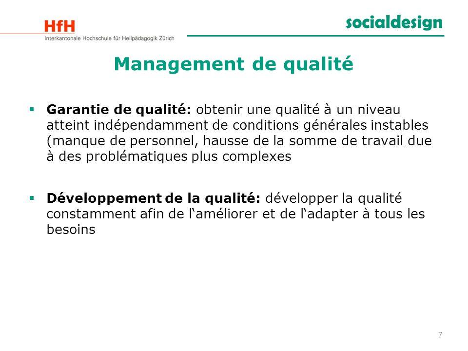 8 Management de qualité Le management de qualité consiste à planifier, appliquer, contrôler, analyser, communiquer et informer sur la qualité et ceci aussi bien sur le plan du contenu, de lorganisation et des finances
