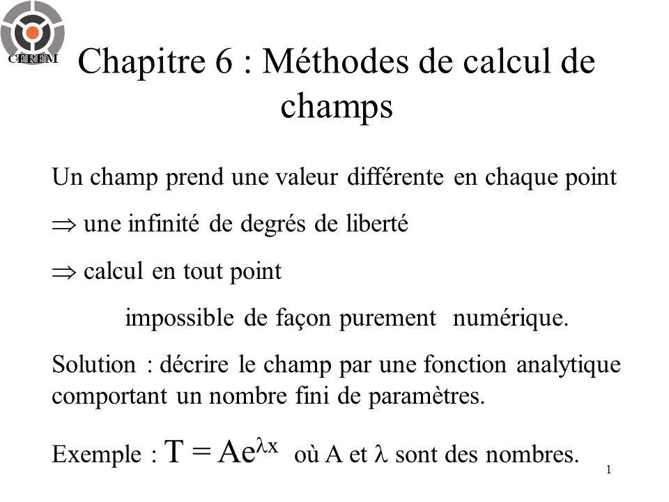 1 Un champ prend une valeur différente en chaque point une infinité de degrés de liberté calcul en tout point impossible de façon purementnumérique.