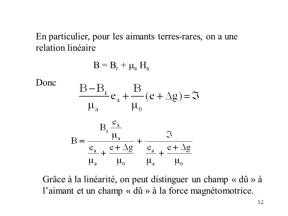 12 En particulier, pour les aimants terres-rares, on a une relation linéaire B = B r + a H a Donc Grâce à la linéarité, on peut distinguer un champ « dû » à laimant et un champ « dû » à la force magnétomotrice.