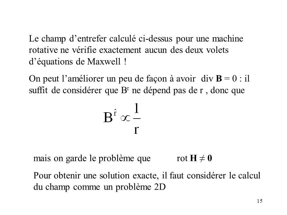 15 Le champ dentrefer calculé ci-dessus pour une machine rotative ne vérifie exactement aucun des deux volets déquations de Maxwell .