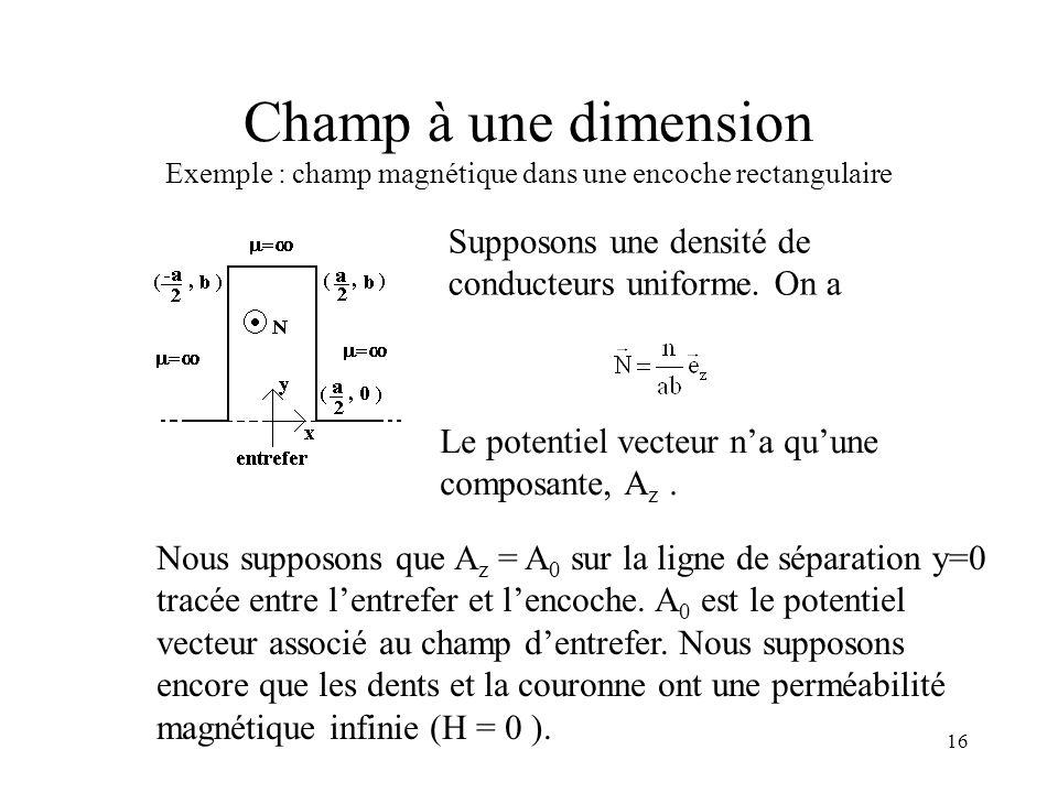 16 Champ à une dimension Exemple : champ magnétique dans une encoche rectangulaire Supposons une densité de conducteurs uniforme.