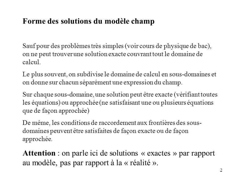 2 Forme des solutions du modèle champ Sauf pour des problèmes très simples (voir cours de physique de bac), on ne peut trouver une solution exacte couvrant tout le domaine de calcul.