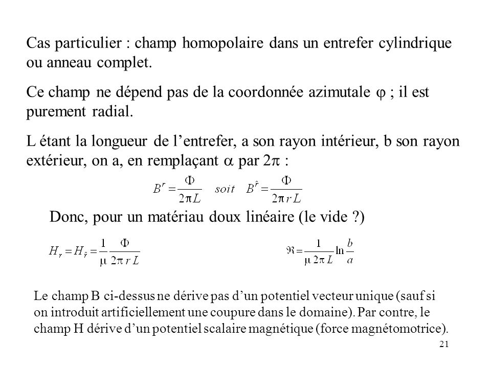 21 Cas particulier : champ homopolaire dans un entrefer cylindrique ou anneau complet.