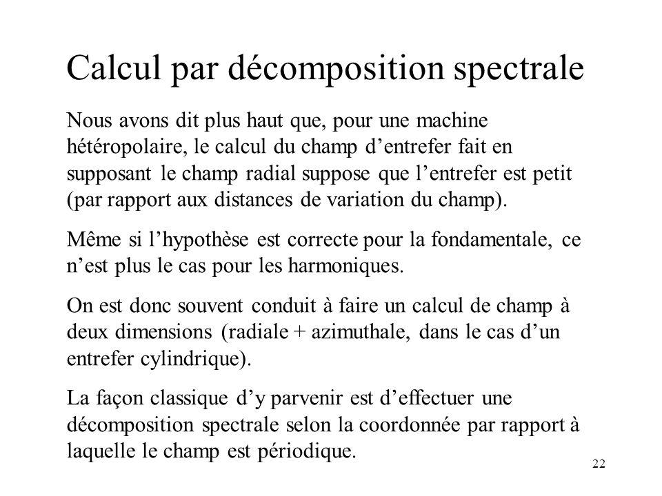 22 Calcul par décomposition spectrale Nous avons dit plus haut que, pour une machine hétéropolaire, le calcul du champ dentrefer fait en supposant le champ radial suppose que lentrefer est petit (par rapport aux distances de variation du champ).