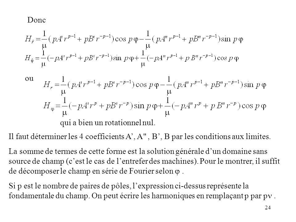 24 Il faut déterminer les 4 coefficients A, A , B, B par les conditions aux limites.