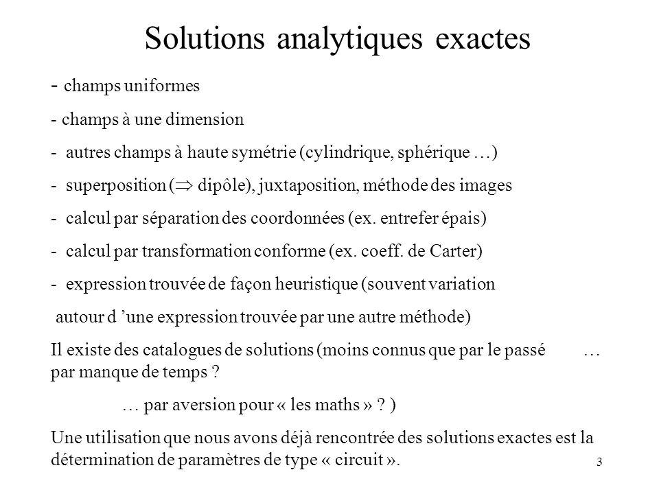 3 Solutions analytiques exactes - champs uniformes - champs à une dimension - autres champs à haute symétrie (cylindrique, sphérique …) - superposition ( dipôle), juxtaposition, méthode des images - calcul par séparation des coordonnées (ex.