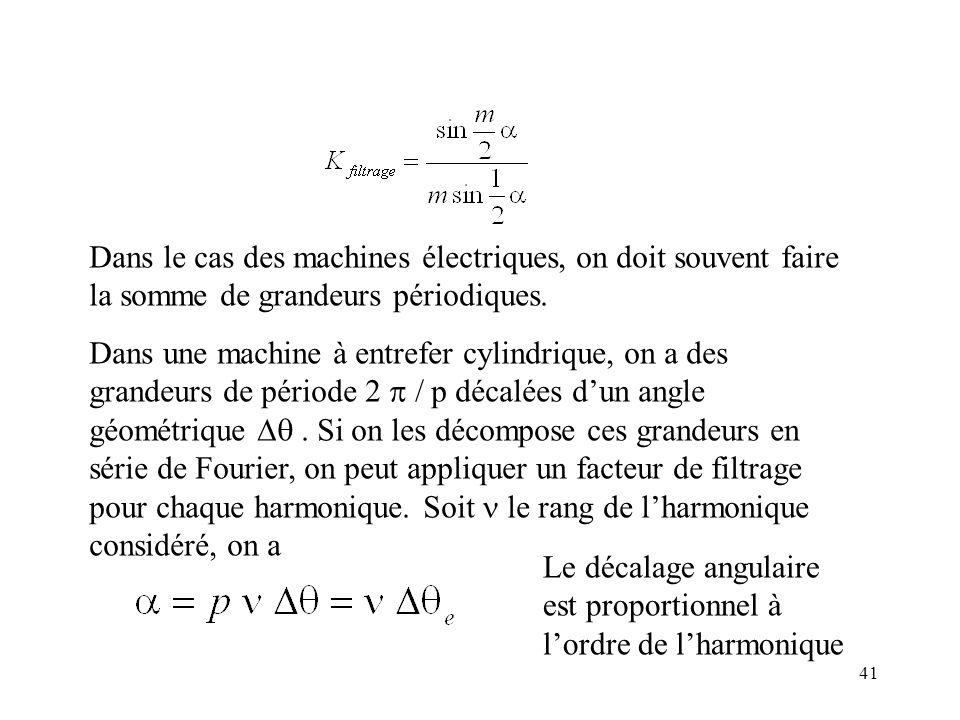 41 Dans le cas des machines électriques, on doit souvent faire la somme de grandeurs périodiques.