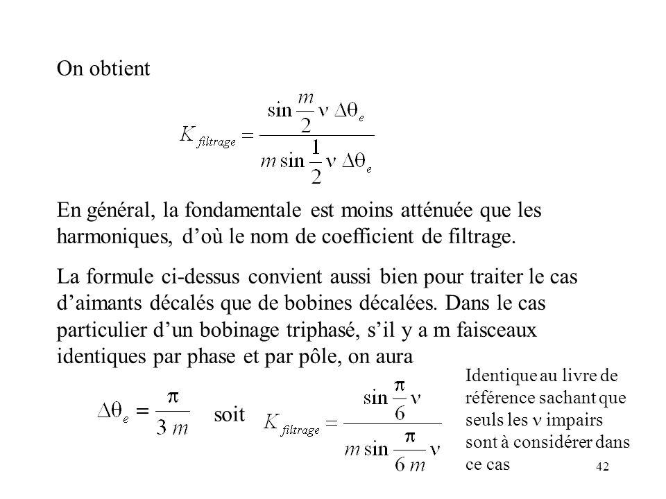 42 On obtient En général, la fondamentale est moins atténuée que les harmoniques, doù le nom de coefficient de filtrage.