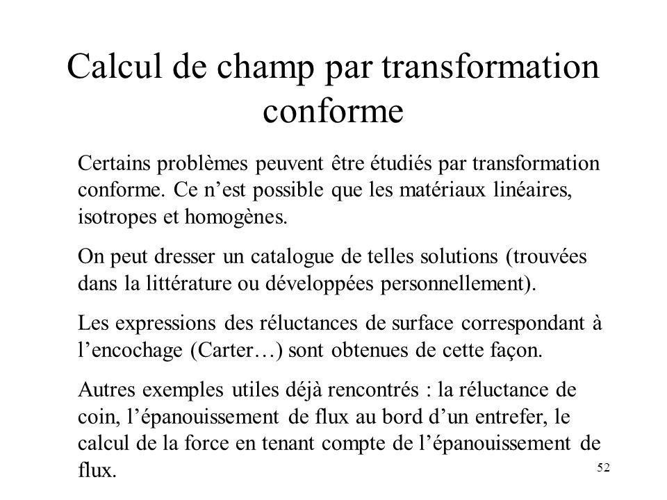 52 Calcul de champ par transformation conforme Certains problèmes peuvent être étudiés par transformation conforme.