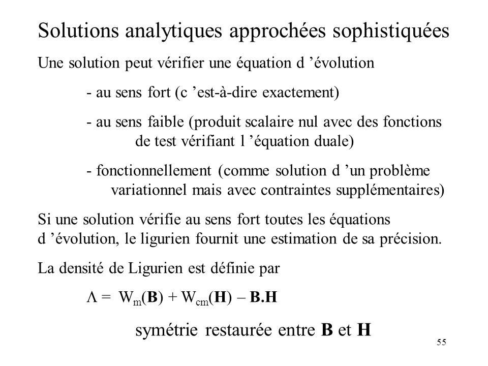 55 Solutions analytiques approchées sophistiquées Une solution peut vérifier une équation d évolution - au sens fort (c est-à-dire exactement) - au sens faible (produit scalaire nul avec des fonctions de test vérifiant l équation duale) - fonctionnellement (comme solution d un problème variationnel mais avec contraintes supplémentaires) Si une solution vérifie au sens fort toutes les équations d évolution, le ligurien fournit une estimation de sa précision.