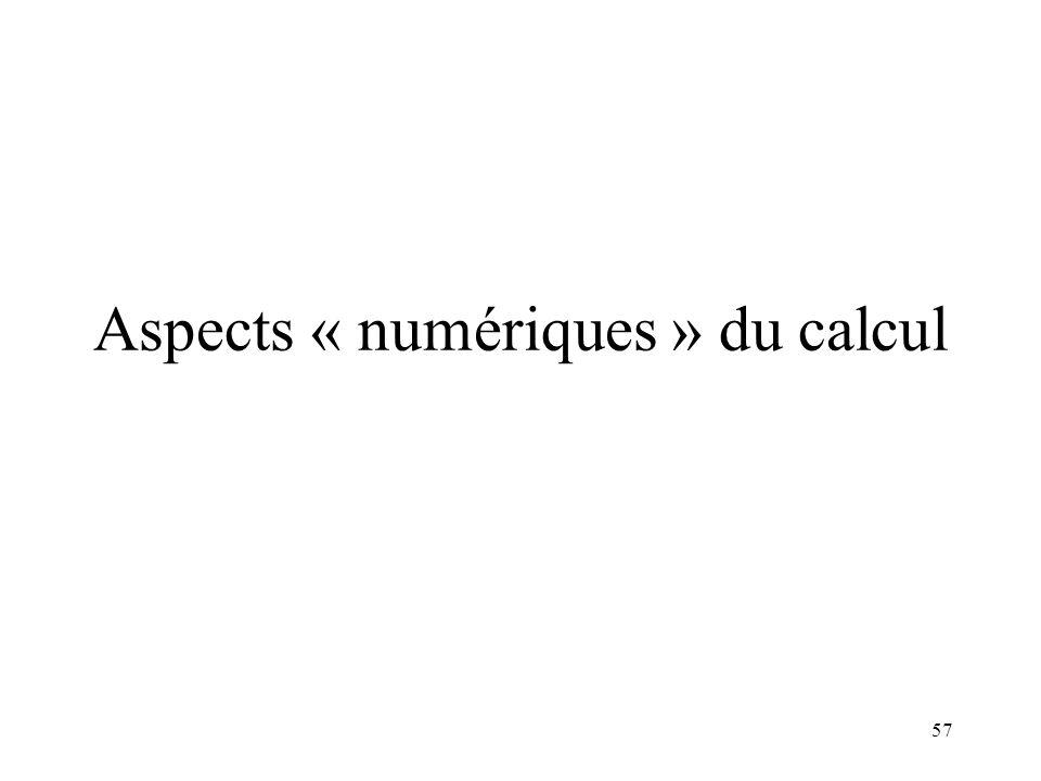57 Aspects « numériques » du calcul