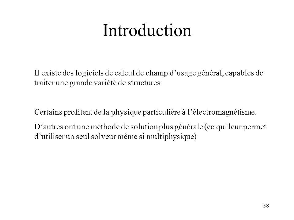 58 Introduction Il existe des logiciels de calcul de champ dusage général, capables de traiter une grande variété de structures.