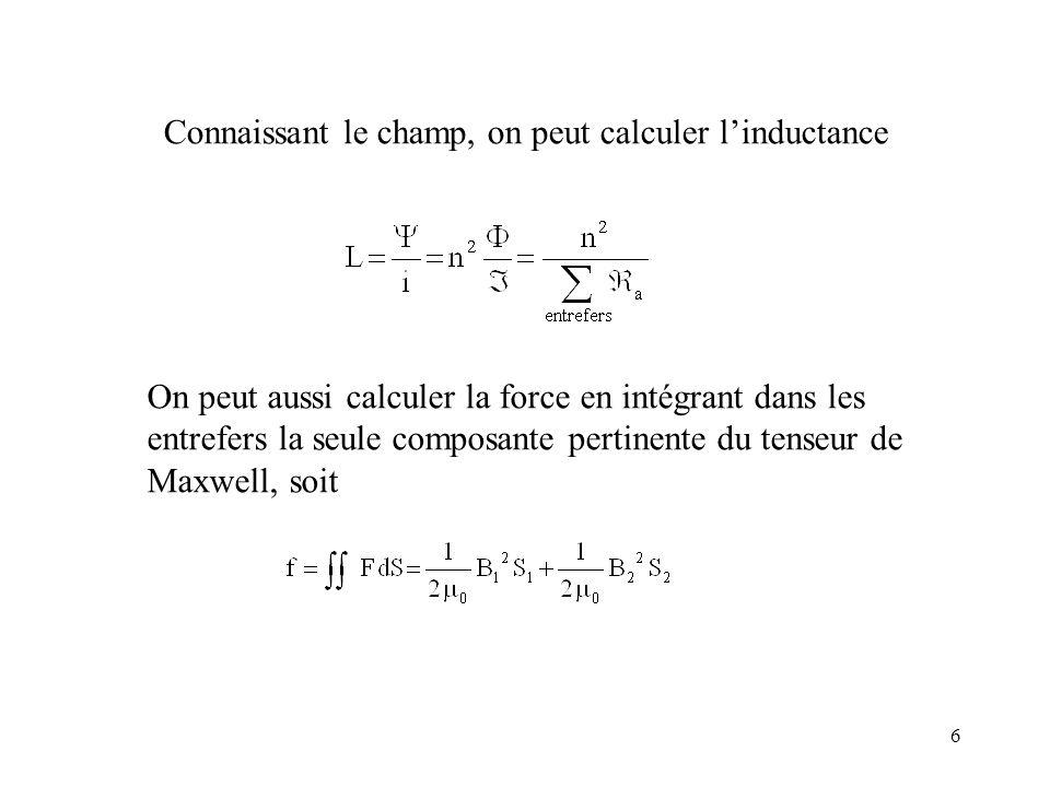 6 Connaissant le champ, on peut calculer linductance On peut aussi calculer la force en intégrant dans les entrefers la seule composante pertinente du tenseur de Maxwell, soit