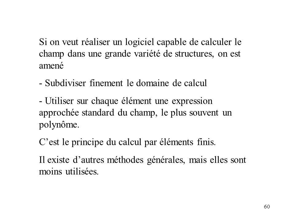 60 Si on veut réaliser un logiciel capable de calculer le champ dans une grande variété de structures, on est amené - Subdiviser finement le domaine de calcul - Utiliser sur chaque élément une expression approchée standard du champ, le plus souvent un polynôme.