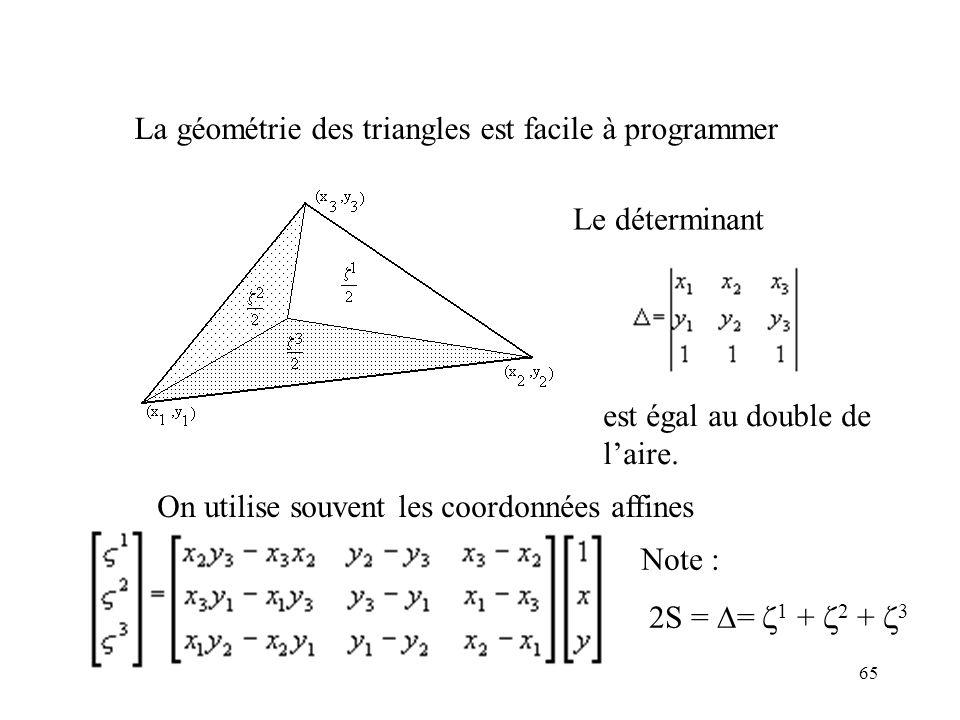 65 La géométrie des triangles est facile à programmer Le déterminant est égal au double de laire.