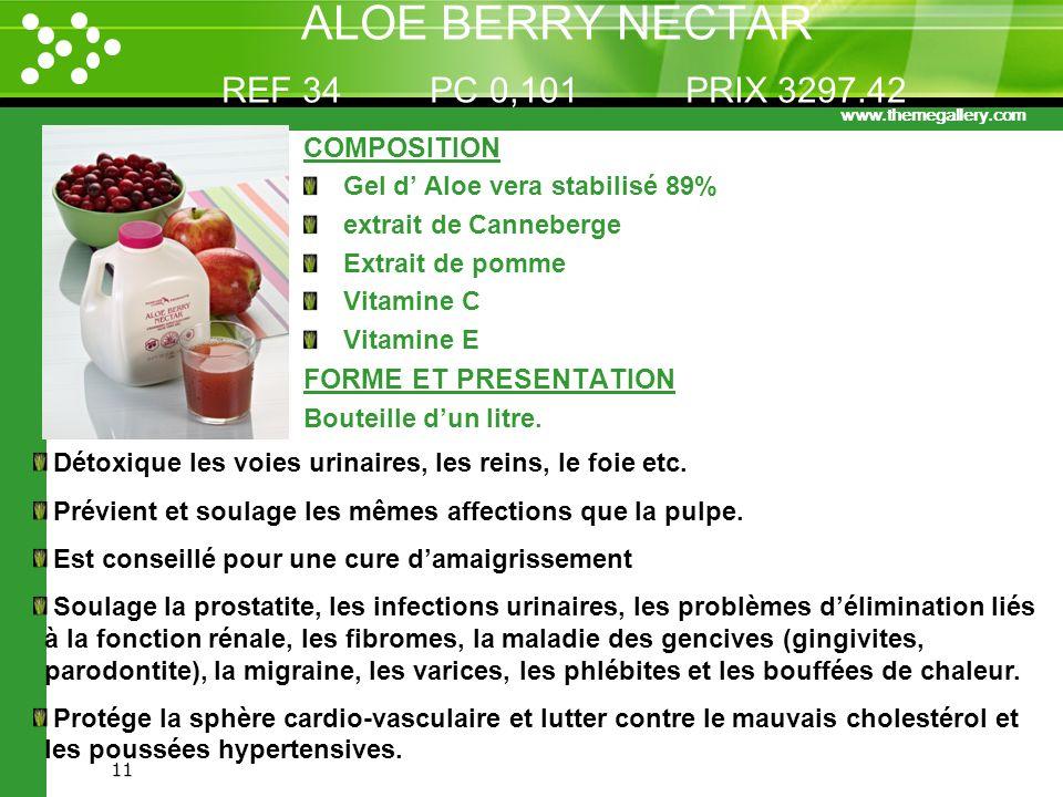 www.themegallery.com 11 ALOE BERRY NECTAR REF 34 PC 0,101 PRIX 3297.42 COMPOSITION Gel d Aloe vera stabilisé 89% extrait de Canneberge Extrait de pomm