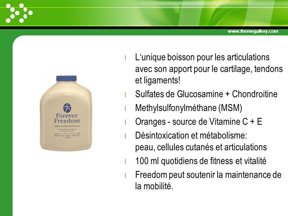 www.themegallery.com l Lunique boisson pour les articulations avec son apport pour le cartilage, tendons et ligaments! l Sulfates de Glucosamine + Cho