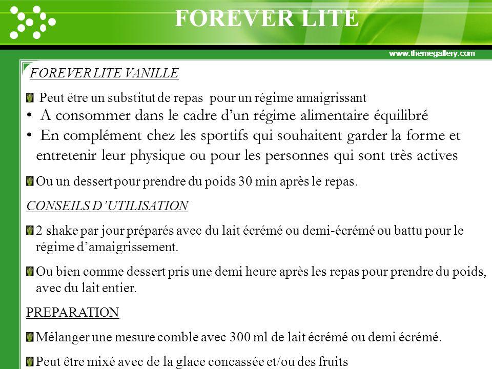 www.themegallery.com FOREVER LITE VANILLE Peut être un substitut de repas pour un régime amaigrissant A consommer dans le cadre dun régime alimentaire