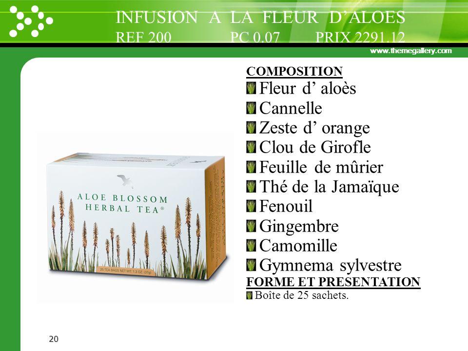 www.themegallery.com 20 COMPOSITION Fleur d aloès Cannelle Zeste d orange Clou de Girofle Feuille de mûrier Thé de la Jamaïque Fenouil Gingembre Camom