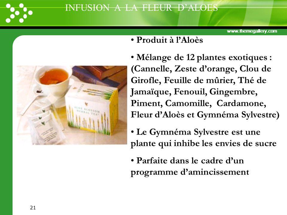www.themegallery.com 21 Produit à lAloès Mélange de 12 plantes exotiques : (Cannelle, Zeste dorange, Clou de Girofle, Feuille de mûrier, Thé de Jamaïq