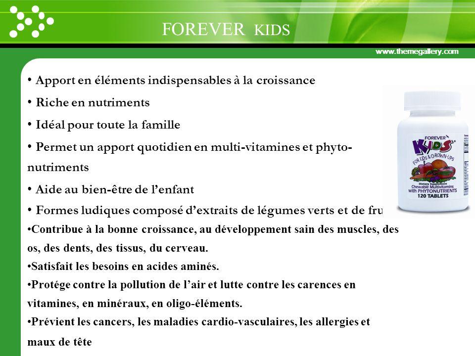 www.themegallery.com Apport en éléments indispensables à la croissance Riche en nutriments Idéal pour toute la famille Permet un apport quotidien en m
