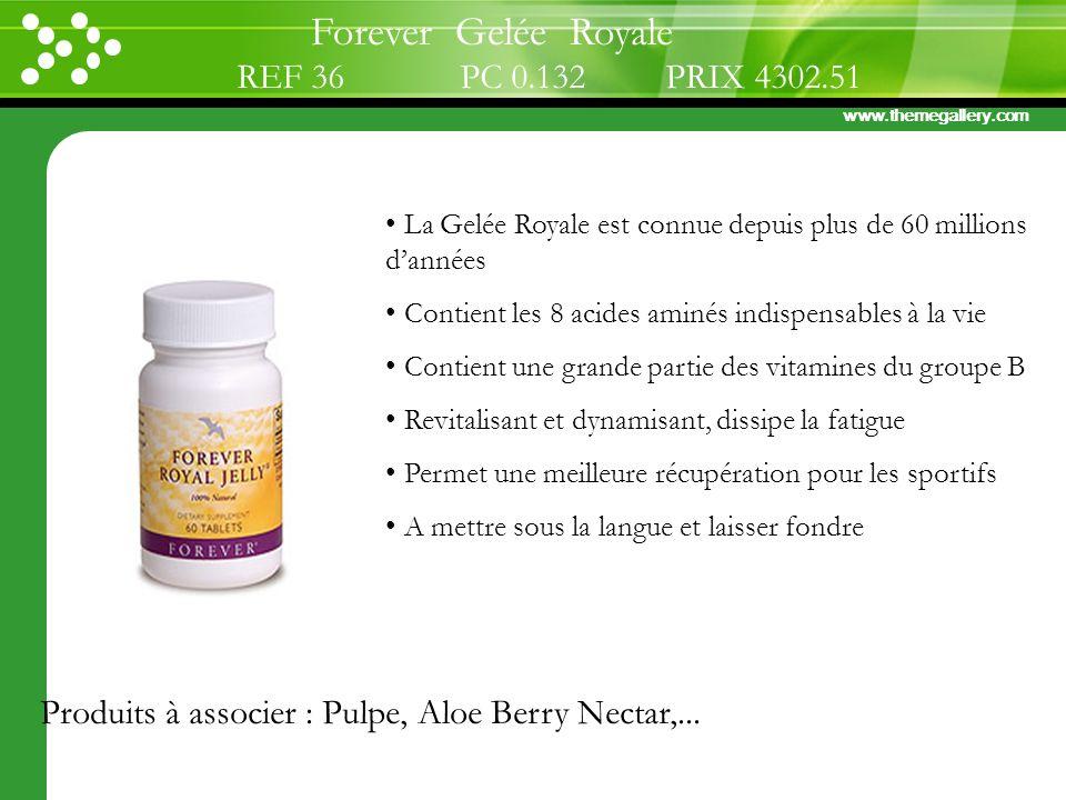 www.themegallery.com La Gelée Royale est connue depuis plus de 60 millions dannées Contient les 8 acides aminés indispensables à la vie Contient une g