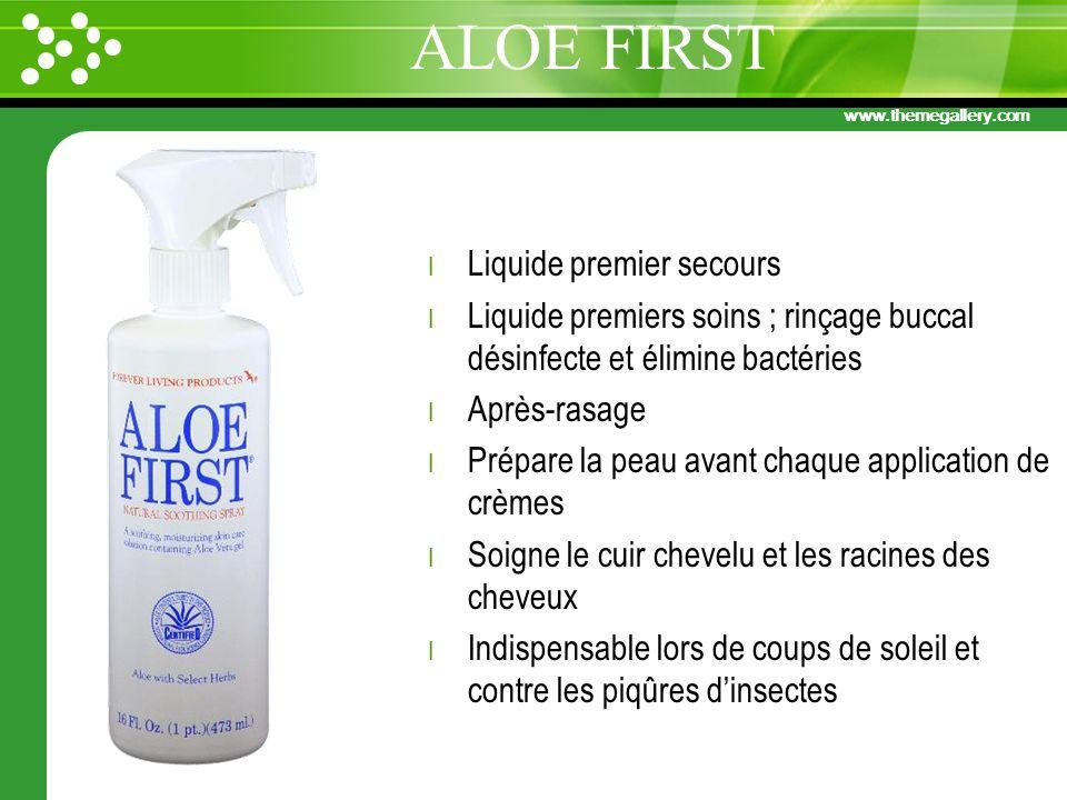 www.themegallery.com l Liquide premier secours l Liquide premiers soins ; rinçage buccal désinfecte et élimine bactéries l Après-rasage l Prépare la p
