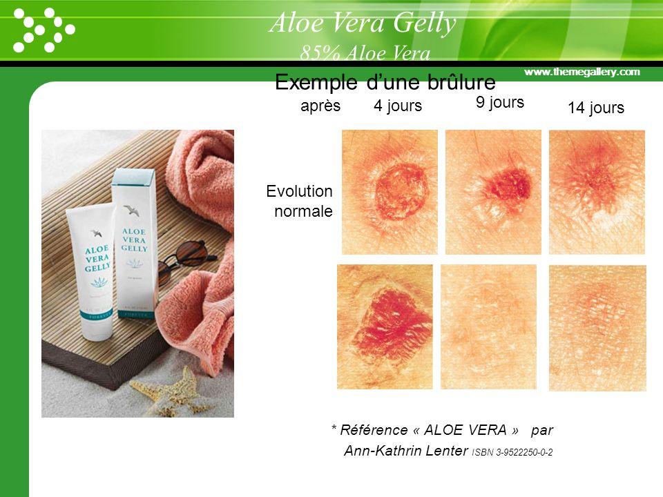 www.themegallery.com Exemple dune brûlure après 4 jours 9 jours 14 jours Evolution normale avec Aloe Vera * Référence « ALOE VERA » par Ann-Kathrin Le