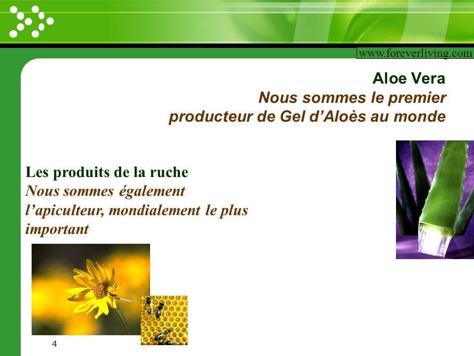 www.themegallery.com 4 Aloe Vera Nous sommes le premier producteur de Gel dAloès au monde www.foreverliving.com Les produits de la ruche Nous sommes é