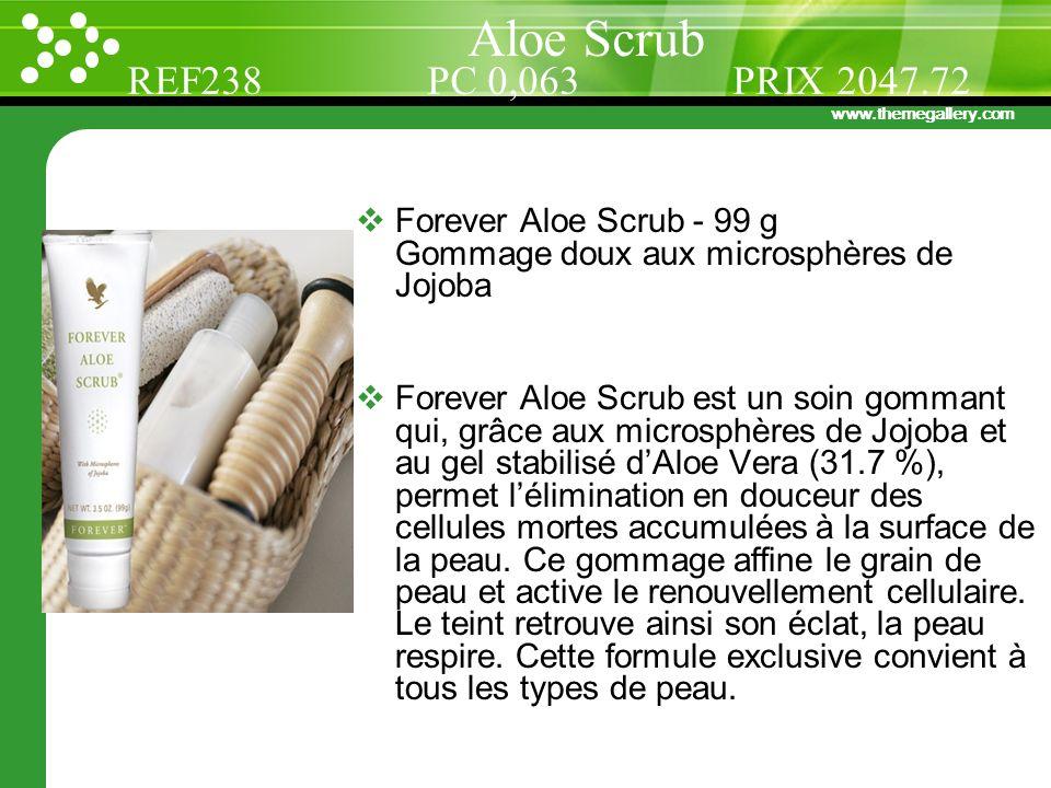 www.themegallery.com Forever Aloe Scrub - 99 g Gommage doux aux microsphères de Jojoba Forever Aloe Scrub est un soin gommant qui, grâce aux microsphè