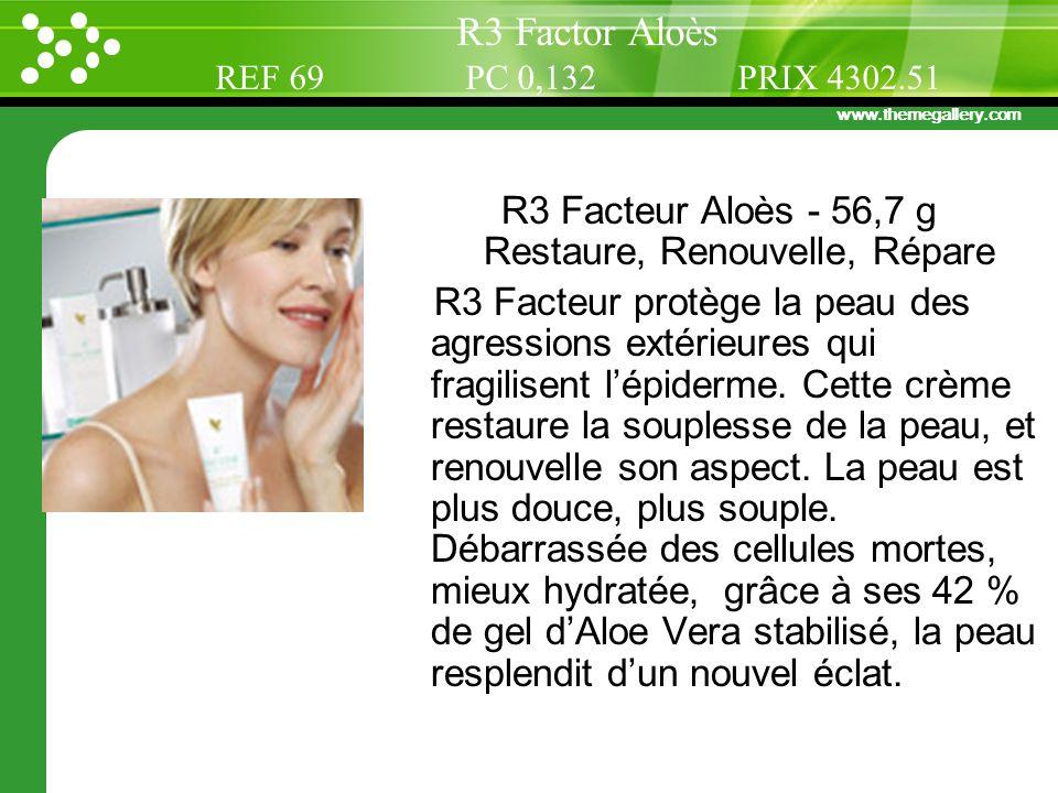 www.themegallery.com R3 Facteur Aloès - 56,7 g Restaure, Renouvelle, Répare R3 Facteur protège la peau des agressions extérieures qui fragilisent lépi