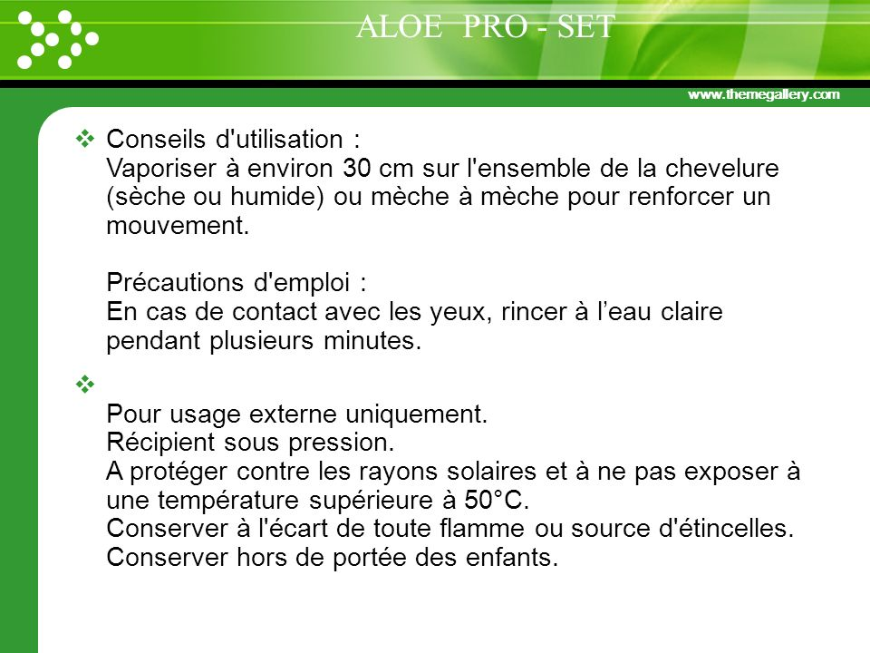 www.themegallery.com Conseils d'utilisation : Vaporiser à environ 30 cm sur l'ensemble de la chevelure (sèche ou humide) ou mèche à mèche pour renforc