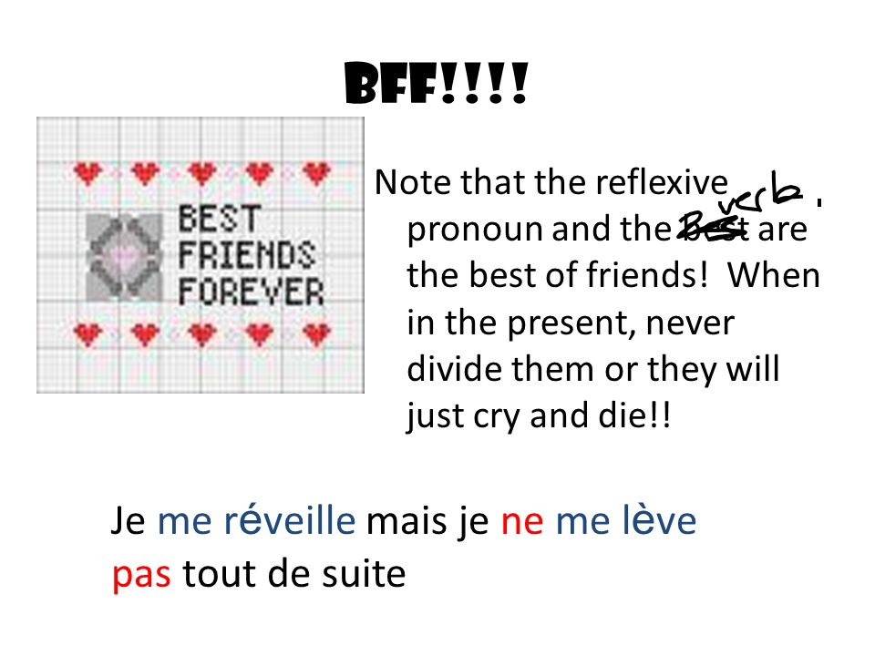 BFF!!!. Note that the reflexive pronoun and the best are the best of friends.