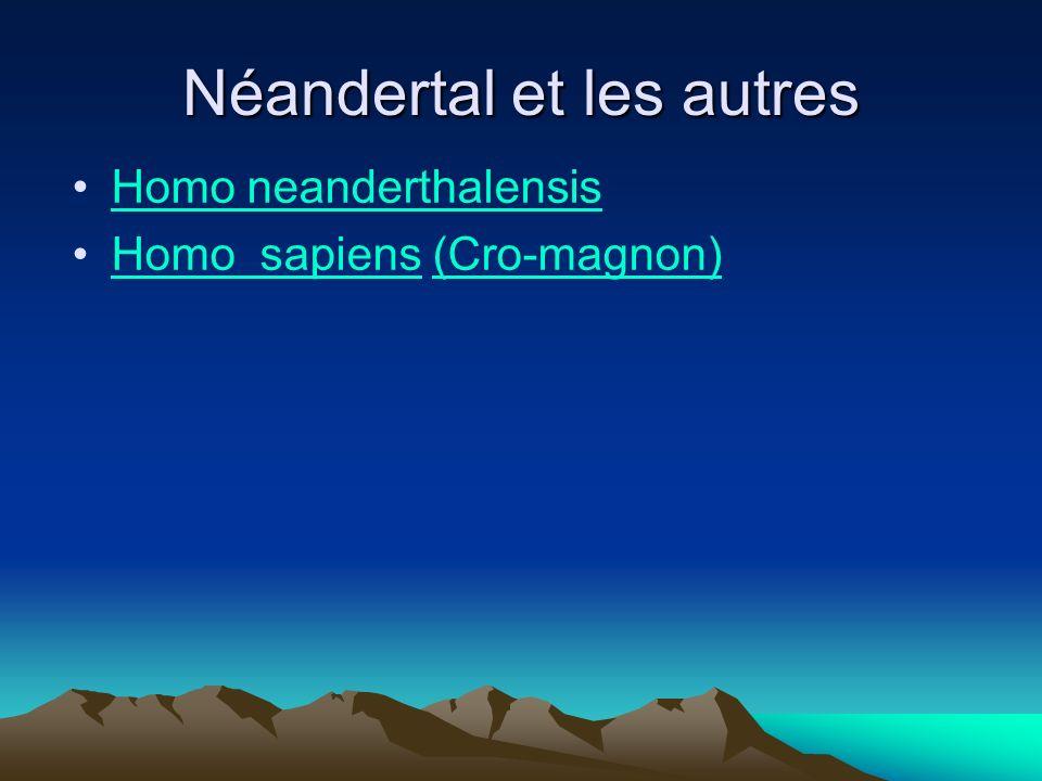 Néandertal et les autres Homo neanderthalensis Homo sapiens (Cro-magnon)Homo sapiens(Cro-magnon)
