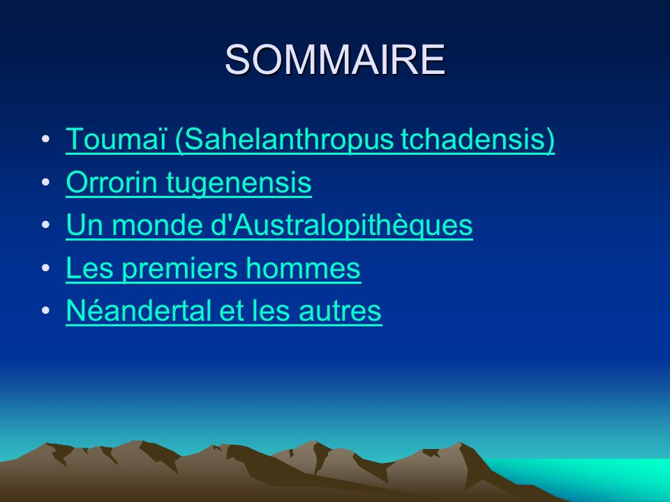 SOMMAIRE Toumaï (Sahelanthropus tchadensis) Orrorin tugenensis Un monde d'Australopithèques Les premiers hommes Néandertal et les autres
