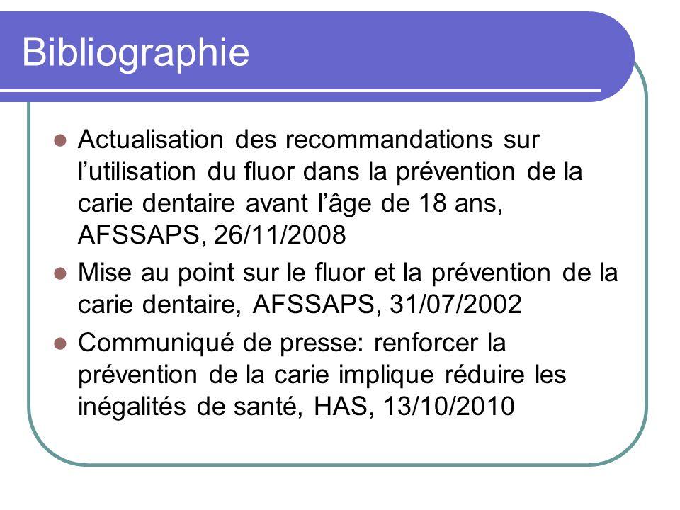 Bibliographie Actualisation des recommandations sur lutilisation du fluor dans la prévention de la carie dentaire avant lâge de 18 ans, AFSSAPS, 26/11