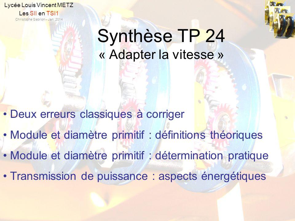 Synthèse TP 24 « Adapter la vitesse » Lycée Louis Vincent METZ Les SII en TSI1 Christophe Gabrion – Jan. 2014 Deux erreurs classiques à corriger Modul