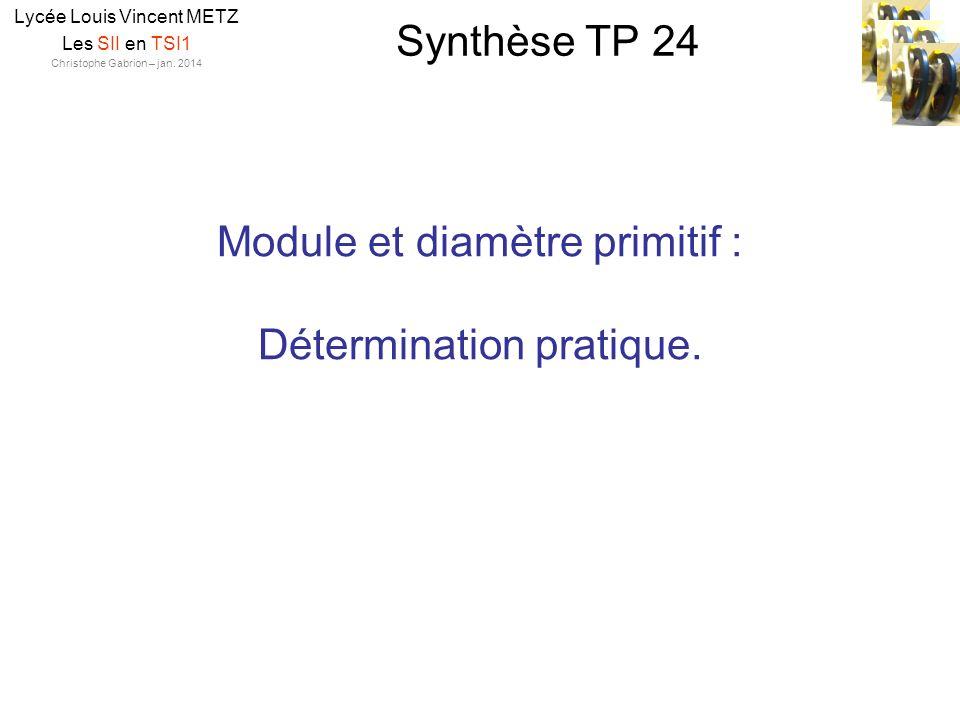 Synthèse TP 24 Lycée Louis Vincent METZ Les SII en TSI1 Christophe Gabrion – jan. 2014 Module et diamètre primitif : Détermination pratique.