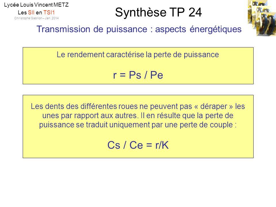 Synthèse TP 24 Lycée Louis Vincent METZ Les SII en TSI1 Christophe Gabrion – Jan. 2014 Transmission de puissance : aspects énergétiques Le rendement c