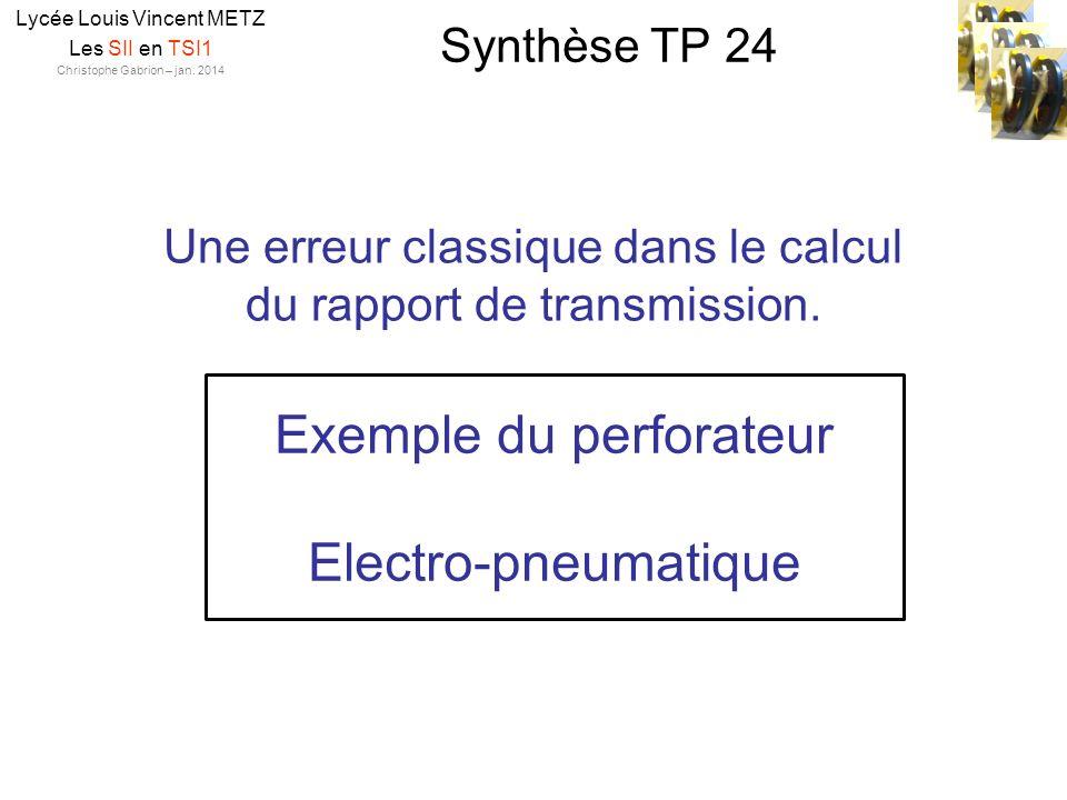 Synthèse TP 24 Lycée Louis Vincent METZ Les SII en TSI1 Christophe Gabrion – jan. 2014 Une erreur classique dans le calcul du rapport de transmission.