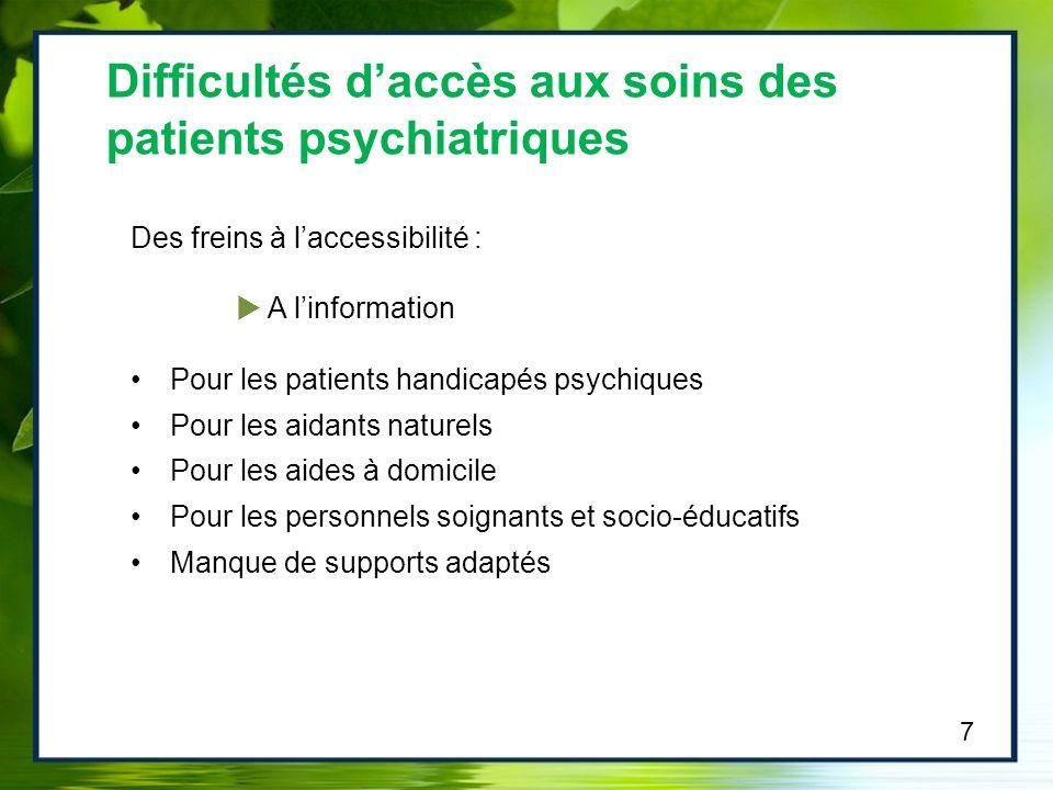 Des freins à laccessibilité : A linformation Pour les patients handicapés psychiques Pour les aidants naturels Pour les aides à domicile Pour les pers