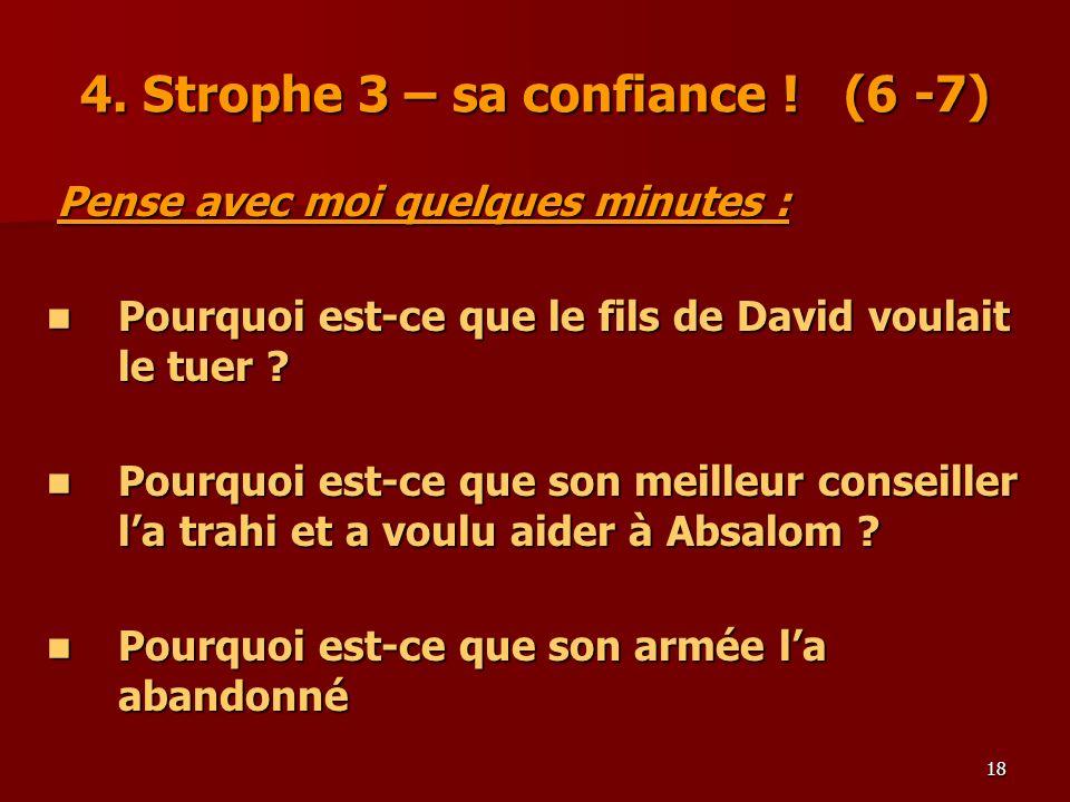 18 4. Strophe 3 – sa confiance ! (6 -7) Pense avec moi quelques minutes : Pense avec moi quelques minutes : Pourquoi est-ce que le fils de David voula