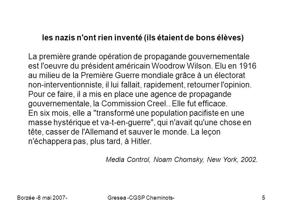 Borzée -8 mai 2007-Gresea -CGSP Cheminots-6 il y a propagande et propagande la p...