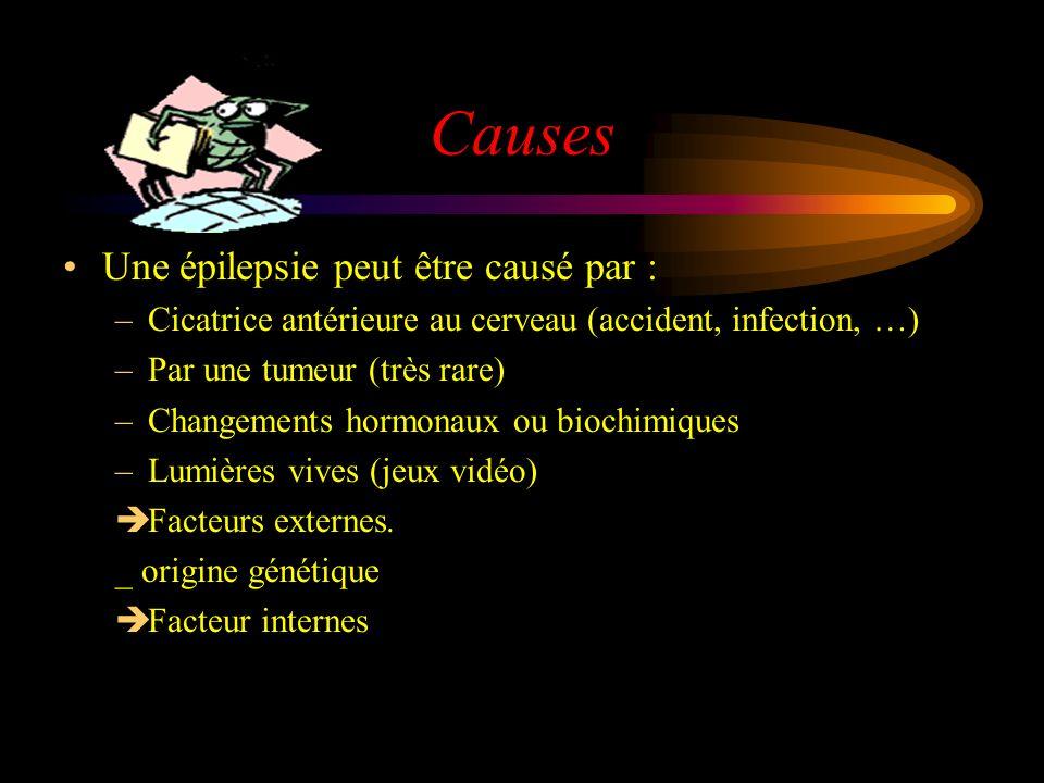 Causes Une épilepsie peut être causé par : –Cicatrice antérieure au cerveau (accident, infection, …) –Par une tumeur (très rare) –Changements hormonaux ou biochimiques –Lumières vives (jeux vidéo) Facteurs externes.