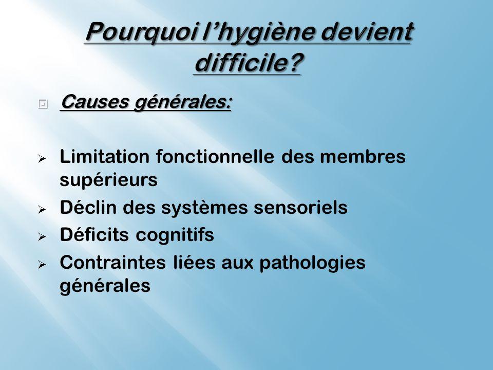 Causes générales: Causes générales: Limitation fonctionnelle des membres supérieurs Déclin des systèmes sensoriels Déficits cognitifs Contraintes liées aux pathologies générales
