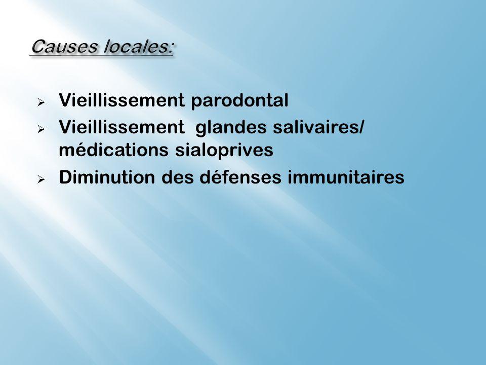 Vieillissement parodontal Vieillissement glandes salivaires/ médications sialoprives Diminution des défenses immunitaires