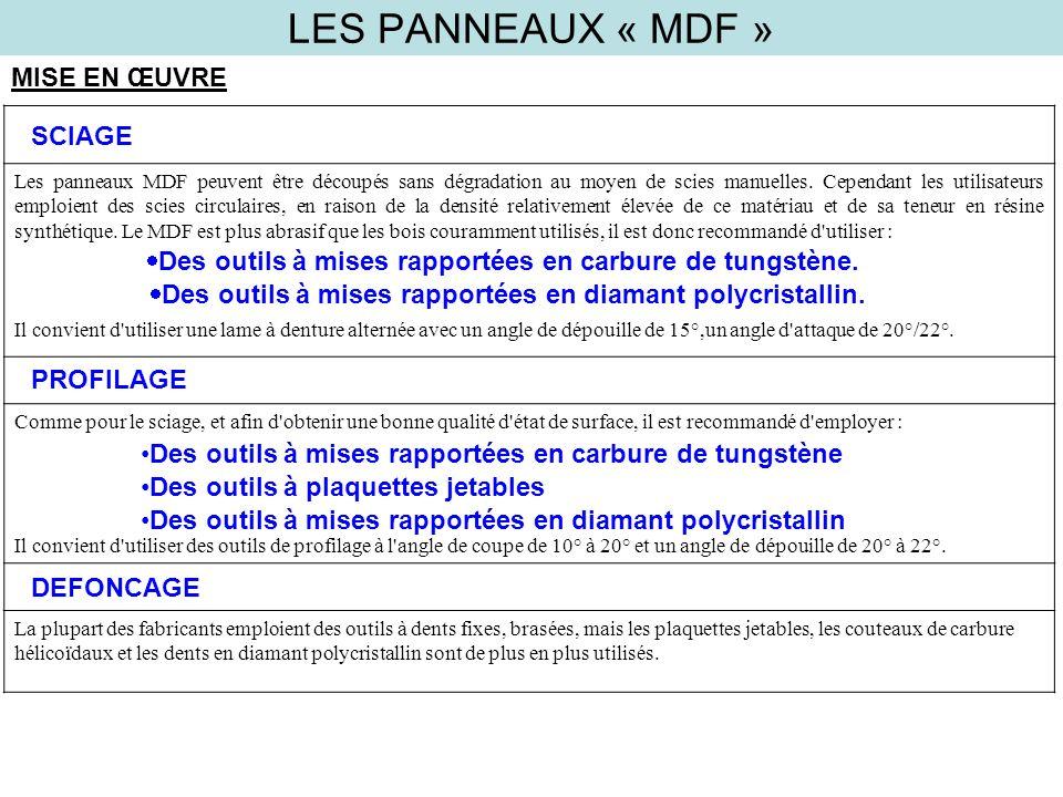 LES PANNEAUX « MDF » PROFILAGE MISE EN ŒUVRE Les panneaux MDF peuvent être découpés sans dégradation au moyen de scies manuelles. Cependant les utilis