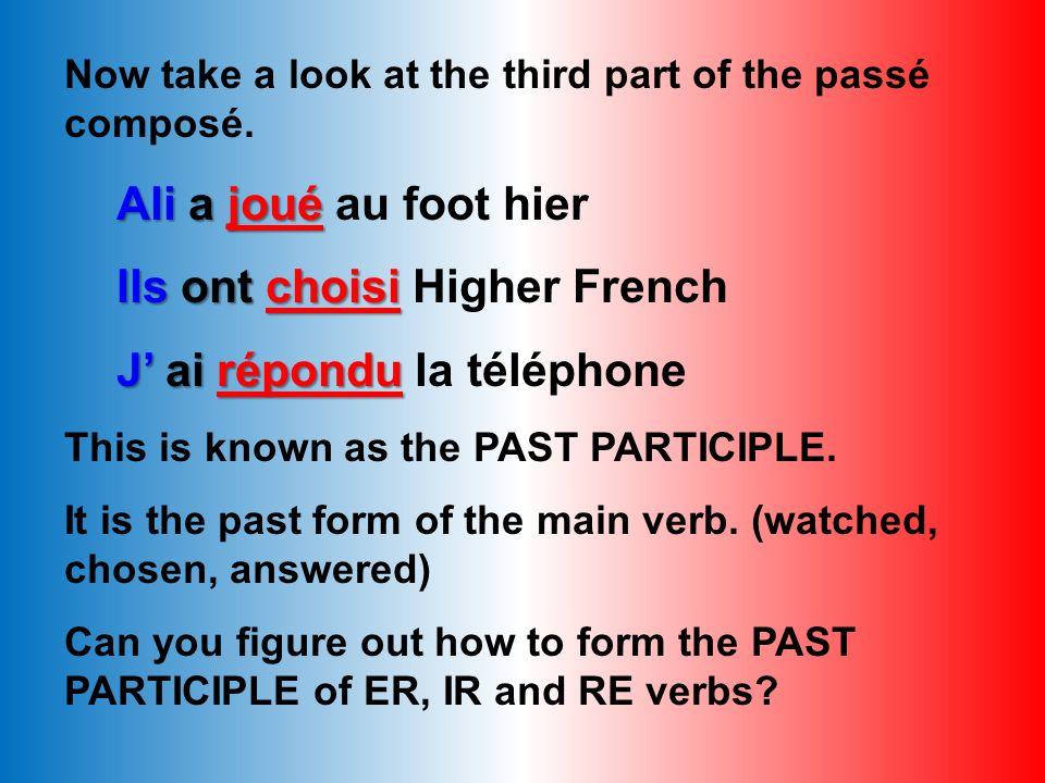 Le Passé Composé 2. Auxiliary verb (avoir) 1. Person2. Auxiliary Verb3. Past Participle avoirêtre* je tu il/elle/on nous vous ils/elles This is the pr