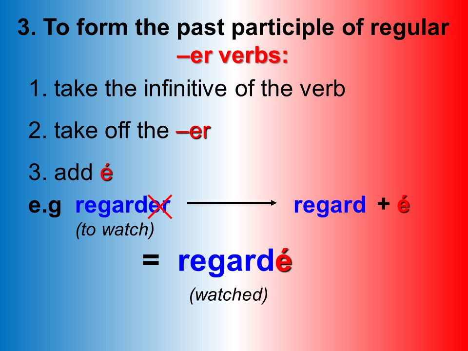 Here are some examples of the 3 types of verb. Change the infinitive into the past participle. travailler regarder finir choisir répondre entendre é t